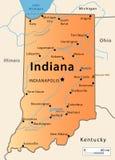 Карта Индианы Стоковое Изображение