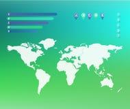 Иллюстрация карты мира на запачканной зеленой и голубой сетке предпосылки соответствующей для infographic стоковое фото rf