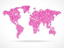 Иллюстрация карты мира пинка Mosaik Стоковые Изображения RF