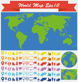 Иллюстрация карты мира infographic, комплект значка сети иллюстрация штока