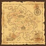 Иллюстрация карты сокровища пирата нарисованная рукой бесплатная иллюстрация