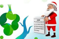 иллюстрация календаря 3d santa Стоковые Фотографии RF