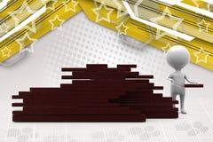 иллюстрация кирпичной стены человека 3d Стоковое Изображение