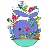 Иллюстрация кита шаржа Стоковые Изображения