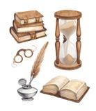 Иллюстрация книг акварели винтажная иллюстрация штока