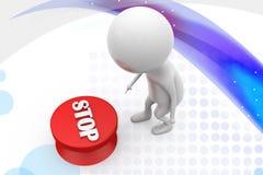 иллюстрация кнопки стоп человека 3d Стоковое Изображение