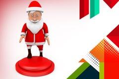 иллюстрация кнопки 3d santa Стоковые Фотографии RF