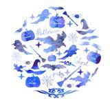 Иллюстрация комплекта акварели на праздник хеллоуин Тыква, призрак, шляпа, веник, летучая мышь, сети паука и другие детали a хелл Стоковые Фото