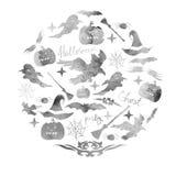 Иллюстрация комплекта акварели на праздник хеллоуин Тыква, призрак, шляпа, веник, летучая мышь, сети паука и другие детали a хелл Стоковое Фото