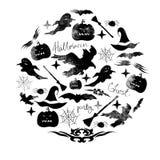Иллюстрация комплекта акварели на праздник хеллоуин Тыква, призрак, шляпа, веник, летучая мышь, сети паука и другие детали a хелл Стоковая Фотография RF