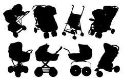 Иллюстрация комплекта Silhouettes детские сидячие коляски значка, prams, bab иллюстрация штока