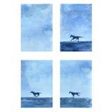 Иллюстрация конспекта вектора акварели лошади нарисованная рукой, вертикальное знамя с скачками, диким животным, шаблоном Стоковые Изображения RF