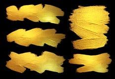 Иллюстрация конспекта пятна краски текстуры акварели золота Сияющий ход щетки установил для вас изумительный дизайн-проект стоковое фото rf