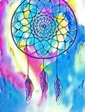 Иллюстрация конспекта чернил Dreamcatcher Иллюстрация цифров племенного dreamcatcher Стоковые Изображения RF
