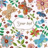иллюстрация конструкции карточки флористическая ваша иллюстрация вектора