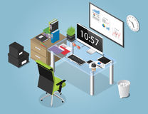 Иллюстрация концепции вектора равновеликая рабочей зоны офиса иллюстрация штока