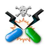 Иллюстрация концепции взаимодействий лекарств Стоковые Фото