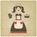 Иллюстрация концепции выпечки девушка с предпосылкой пирога старой бесплатная иллюстрация