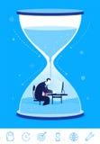 Иллюстрация концепции дела вектора deadline Бизнесмен сидя в часах иллюстрация штока