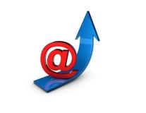 Иллюстрация концепции маркетинга электронной почты с стрелкой Стоковое Изображение RF