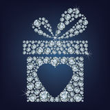 Иллюстрация концепции дня валентинки подарка присутствующая с символом сердца составила много диаманты на черной предпосылке Стоковые Фотографии RF