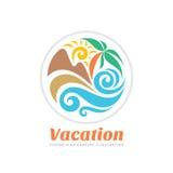 Иллюстрация концепции логотипа вектора каникул перемещения лета в форме круга Знак графика цвета пляжа рая Морской курорт, солнце Стоковое фото RF