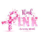 Иллюстрация концепции осведомленности рака молочной железы: розовый символ ленты Стоковое Изображение