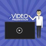 Иллюстрация концепции представления человека видео- Стоковое Изображение