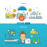 Иллюстрация концепции - страхование собственности, агент иллюстрация вектора