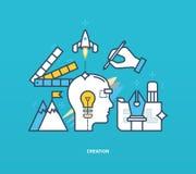 Иллюстрация концепции - творческие способности и творение иллюстрация штока