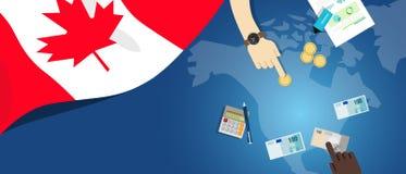 Иллюстрация концепции торговлей денег Канады фискальная финансового бюджета банка с картой и валютой флага Стоковое Изображение RF