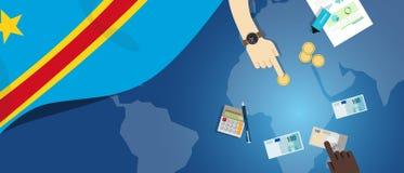 Иллюстрация концепции торговлей денег экономики Конго фискальная финансового бюджета банка с картой и валютой флага бесплатная иллюстрация