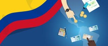 Иллюстрация концепции торговлей денег экономики Колумбии фискальная финансового бюджета банка с картой и валютой флага Стоковые Изображения