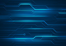 Иллюстрация концепции цифров с микросхемой цепи на задней части сини Стоковое Изображение RF