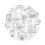 Иллюстрация концепции чаепития Стоковые Фотографии RF