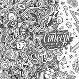 Иллюстрация концепции doodles шаржа нарисованная вручную Стоковые Фотографии RF