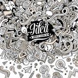 Иллюстрация концепции doodles шаржа нарисованная вручную Стоковое Фото