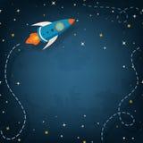 Иллюстрация космического корабля с космосом для вашего текста Стоковое Изображение RF