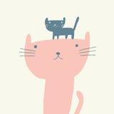Иллюстрация кота на день матерей Стоковые Изображения RF
