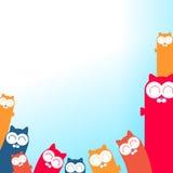 Иллюстрация котов шаржа с местом для вашего текста Стоковое Фото