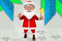 иллюстрация колокола santa человека 3d Стоковое Изображение