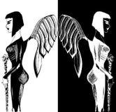 Иллюстрация красивого темного ангела Стоковое Изображение