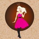 Иллюстрация красивой блондинкы в сочном розовом платье Стоковые Изображения RF