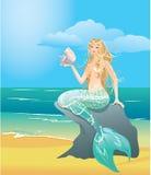 Иллюстрация красивой девушки русалки иллюстрация штока