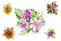 Иллюстрация красивых цветков с листьями Стоковые Изображения RF