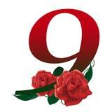 Иллюстрация 9 красная флористическая Стоковые Изображения