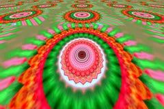 Иллюстрация красных и зеленых орнаментов Стоковое Изображение
