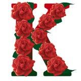 Иллюстрация красных роз письма k Стоковая Фотография