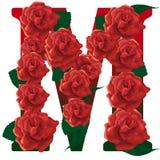 Иллюстрация красных роз письма m Стоковая Фотография RF
