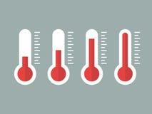 Иллюстрация красных термометров с различными уровнями, плоский стиль, EPS10 Стоковые Изображения